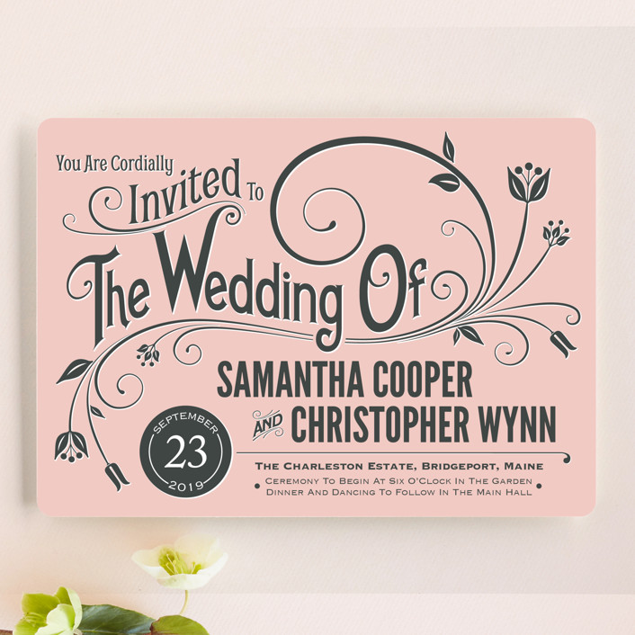 vintage blush rustic vintage wedding invitations in blush by geekink design - Blush Wedding Invitations