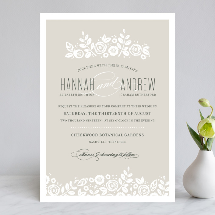 """White Shadows"" - Floral & Botanical, Elegant Wedding Invitations in Champagne by Jessica Williams."