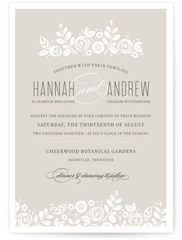 This is a landscape, portrait botanical, classical, elegant, floral, hand drawn, vintage, beige, brown, ivory Wedding Invitations by Jessica Williams called White Shadows with Standard printing on Signature in Classic Flat Card format.