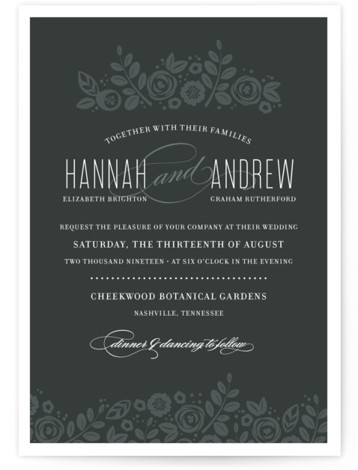 This is a landscape, portrait botanical, classical, elegant, floral, hand drawn, vintage, black, grey Wedding Invitations by Jessica Williams called White Shadows with Standard printing on Signature in Classic Flat Card format.