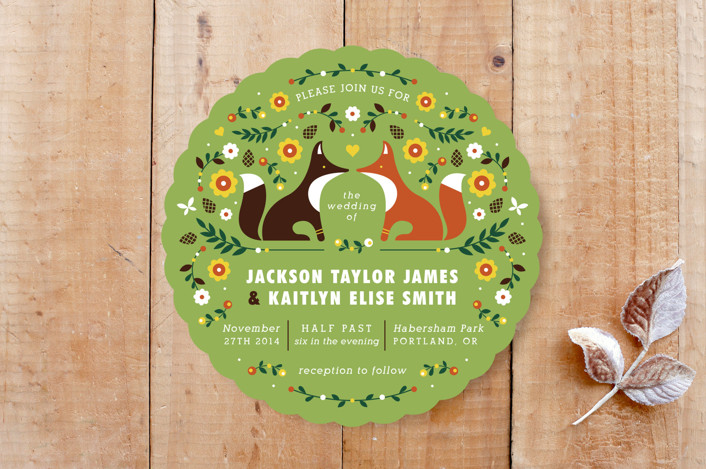 """Woodland"" - Floral & Botanical, Whimsical & Funny Wedding Invitations in Grass by Kristen Smith."