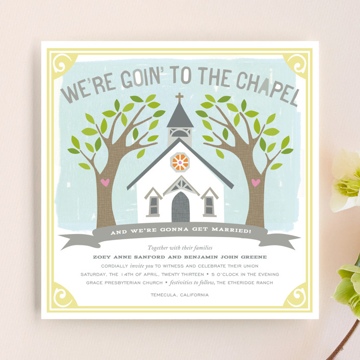"""Going to the Chapel"" - Bold typographic, Whimsical & Funny Wedding Invitations in Spring by Griffinbell Paper Co.."