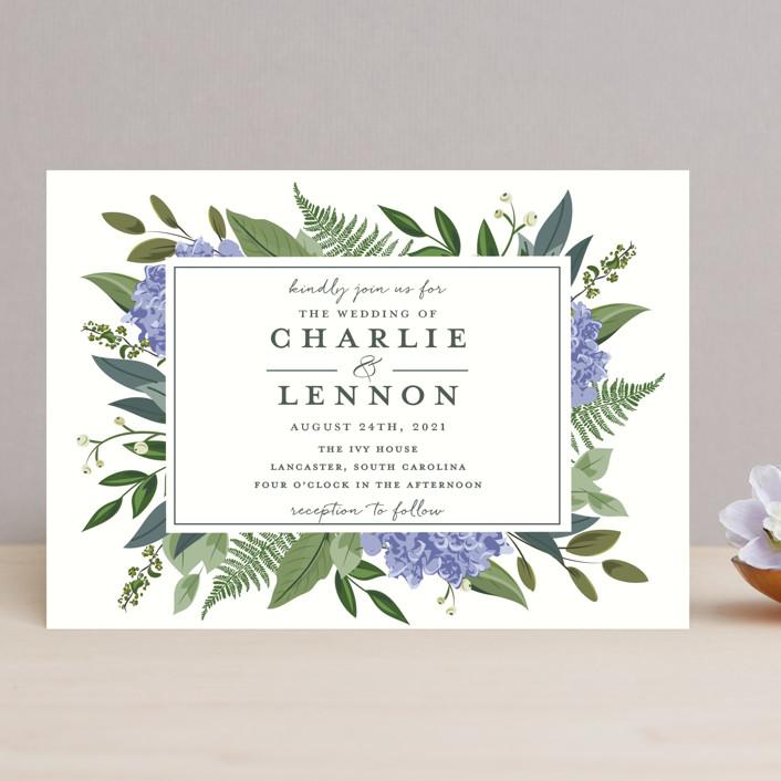 hydrangea frame wedding invitations by susan moyal minted