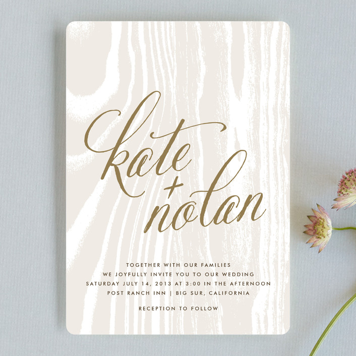 """""""Big Sur"""" - Rustic, Bold typographic Wedding Invitations in Weathered Oak by annie clark."""