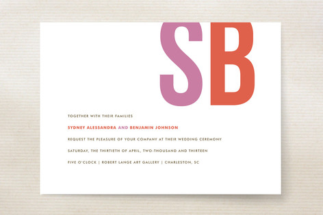 Brilliant and Bold Initials Wedding Invitations