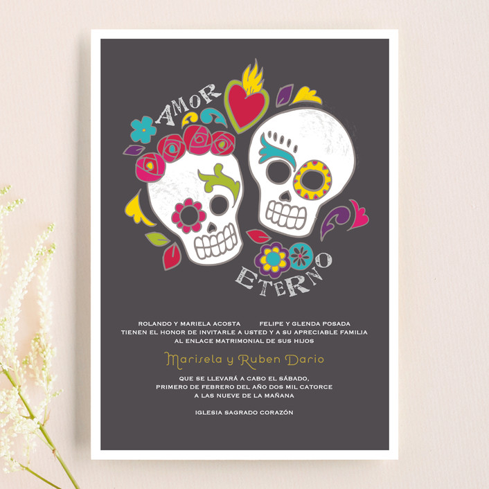 """Dia de los Muertos"" - Whimsical & Funny, Funny Wedding Invitations in Slate by Inky Livie."