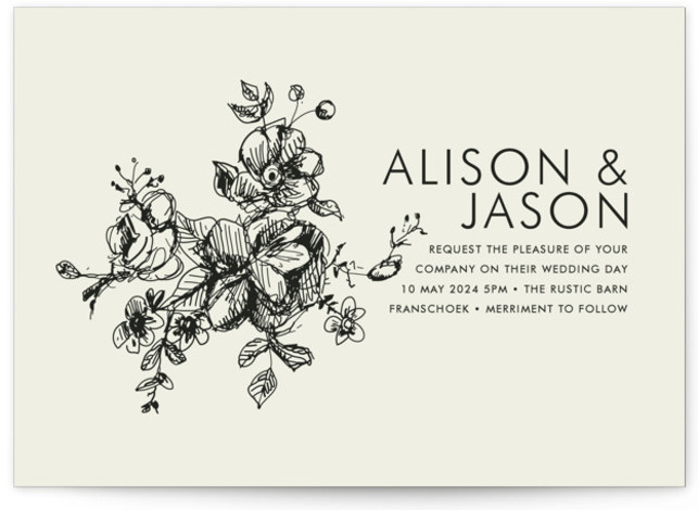This is a landscape, portrait botanical, classical, elegant, floral, formal, hand drawn, modern, rustic, simple, brown Wedding Invitations by Phrosne Ras called Elegance Illustrated with Standard printing on Signature in Classic Flat Card format.