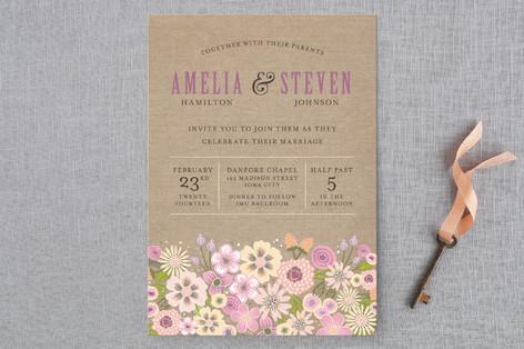 Burlap Bouquet Wedding Invitations