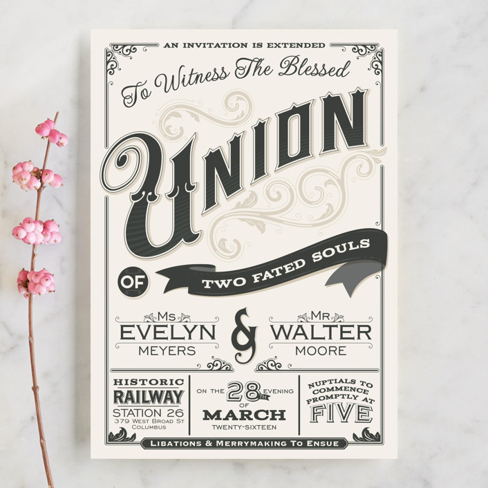 """""""A Blessed Union"""" - Vintage, Bold typographic Wedding Invitations in Cream by GeekInk Design."""