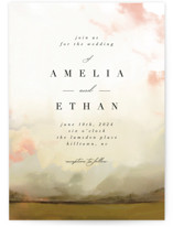 This is a green wedding invitation by Hannah Williams called Pastel Sky with standard printing on signature in standard.