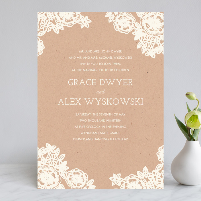 Lace And Kraft Wedding Invitations By Katharine Watson Minted