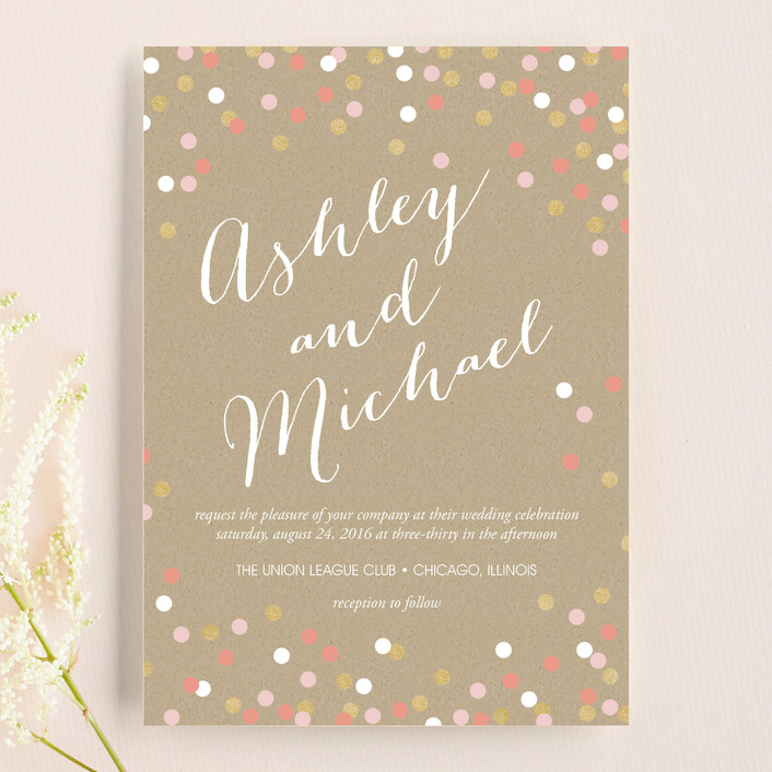 """Golden Glittering Confetti"" - Modern, Whimsical & Funny Wedding Invitations in Quartz by Erin Deegan."