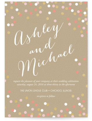 photo of Golden Glittering Confetti Wedding Invitations