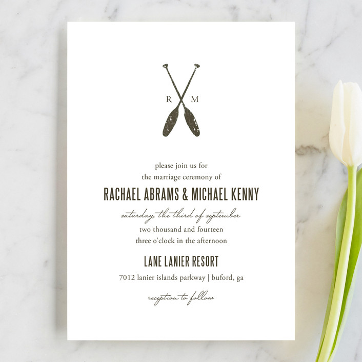 """Lakeside Oars"" - Beach, Rustic Wedding Invitations in Chocolate by SimpleTe Design."