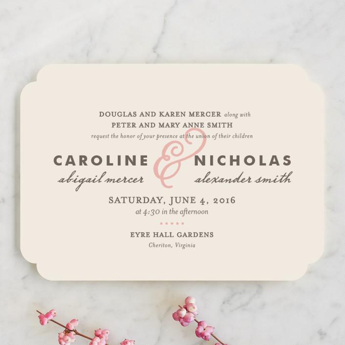 """Delicate Ampersand"" - Simple, Elegant Wedding Invitations in Blush by Olivia Raufman."