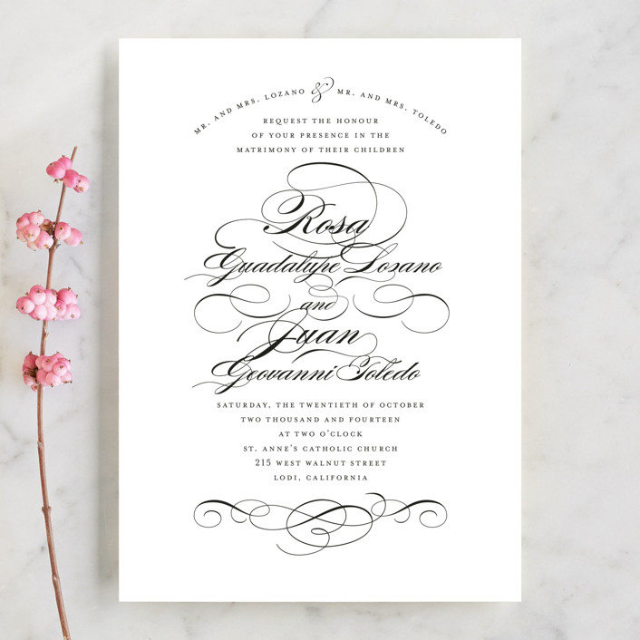 Formal Ink Wedding Invitations In Black Tie By Jill Means