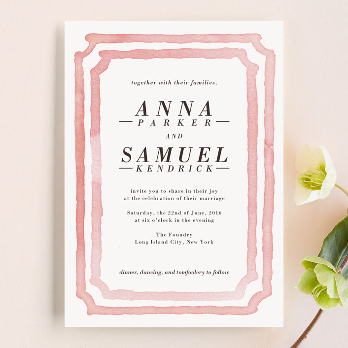 """Watercolor Frame"" - Modern Wedding Invitations in Coral by Laura Condouris."