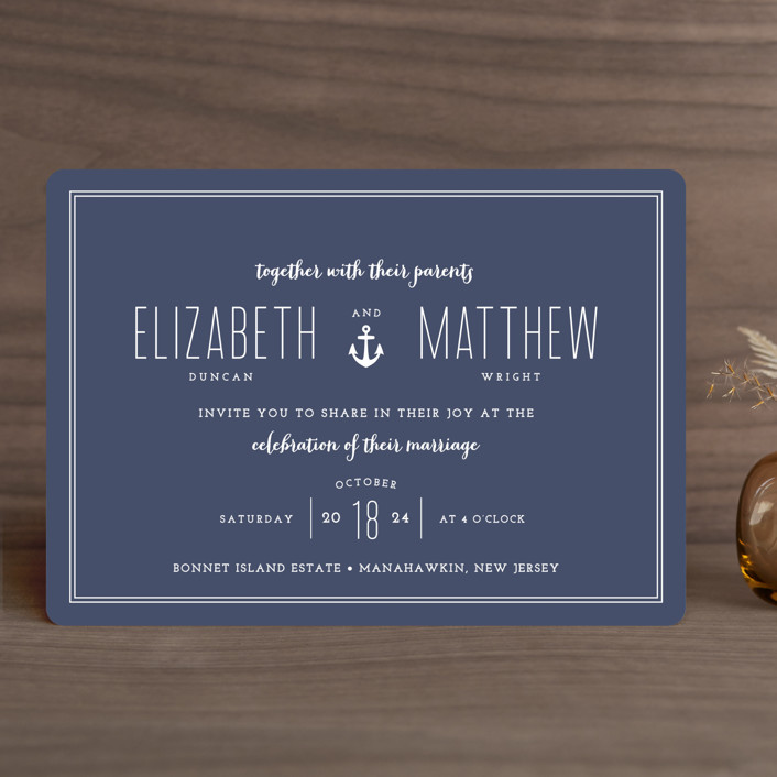 """Down by the Sea"" - Modern, Beach Wedding Invitations in Marine by Sandra Picco Design."