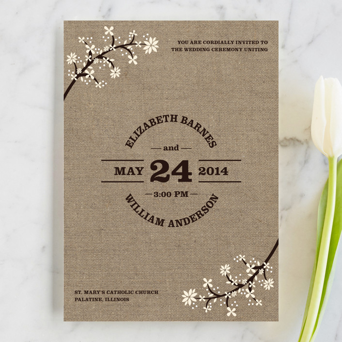 """Burlap Bliss"" - Floral & Botanical, Rustic Wedding Invitations in Burlap by Beth Schneider."