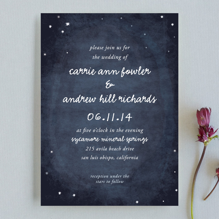 Constellations Rustic Hand Drawn Wedding Invitations In Deep Blue By Simplete Design
