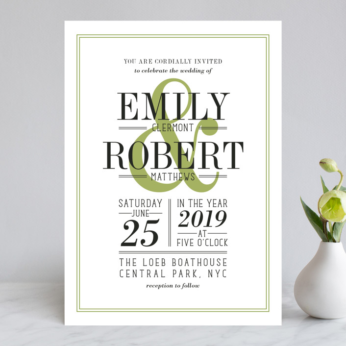 """Wed in Type"" - Modern, Bold typographic Wedding Invitations in Moss by Ariel Rutland."