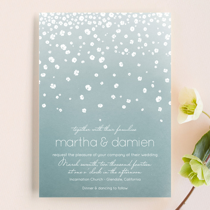 """Floral Rain"" - Whimsical & Funny Wedding Invitations in Teal by Aspacia Kusulas."