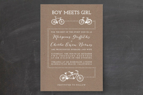 Bicycle Love Wedding Invitations by Five Sparrows Minted