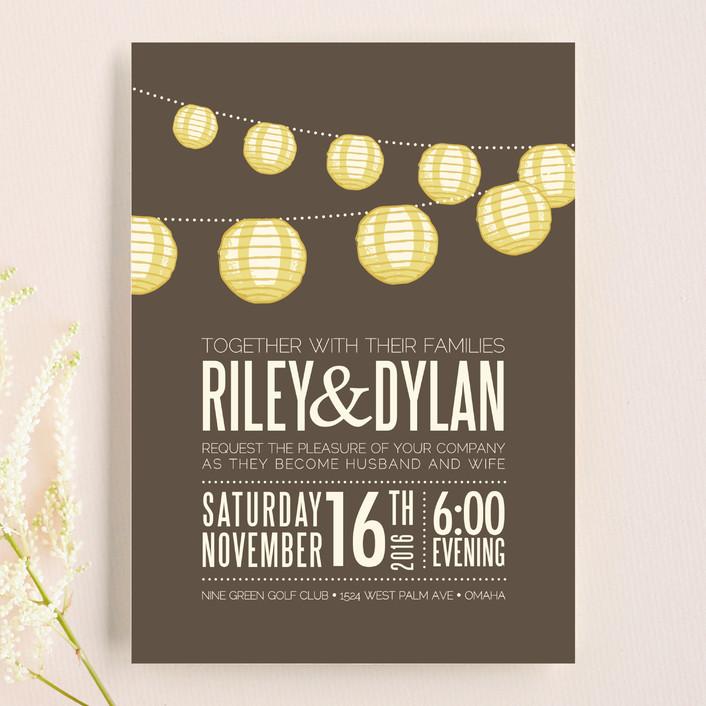 """Paper Lanterns"" - Rustic Wedding Invitations in Latte by Pixel 3."