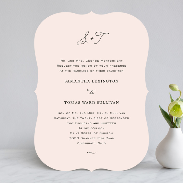 """Estate"" - Elegant, Formal Wedding Invitations in Blush by Kim Dietrich Elam."