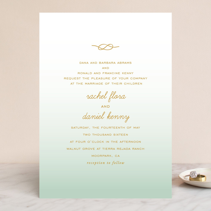 """Simple Knot"" - Wedding Invitations in Mint by SimpleTe Design."