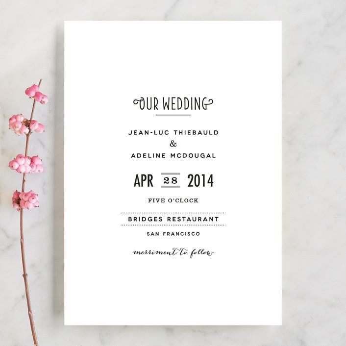 """""""Pesto Classico"""" - Simple Wedding Invitations in White by chocomocacino."""
