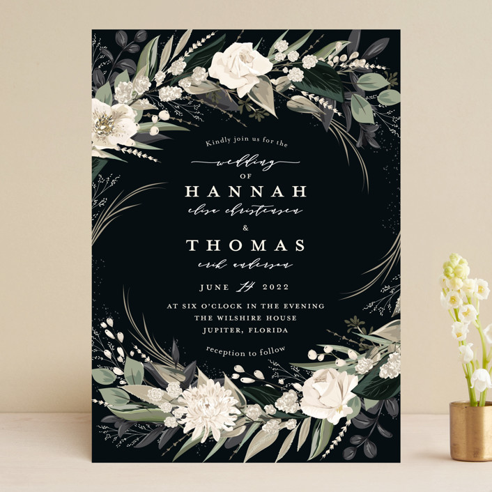 """""""Ivory Ring"""" - Wedding Invitations in Midnight by Susan Moyal."""