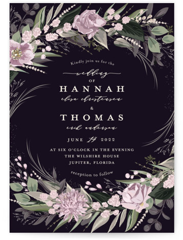 This is a portrait botanical, green, purple Wedding Invitations by Susan Moyal called Ivory Ring with Standard printing on Signature in Classic Flat Card format. Hand drawn botanicals circle the wedding details