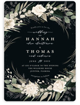 This is a black wedding invitation by Susan Moyal called Ivory Ring with standard printing on signature in standard.