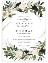 This is a green wedding invitation by Susan Moyal called Ivory Ring with standard printing on signature in standard.