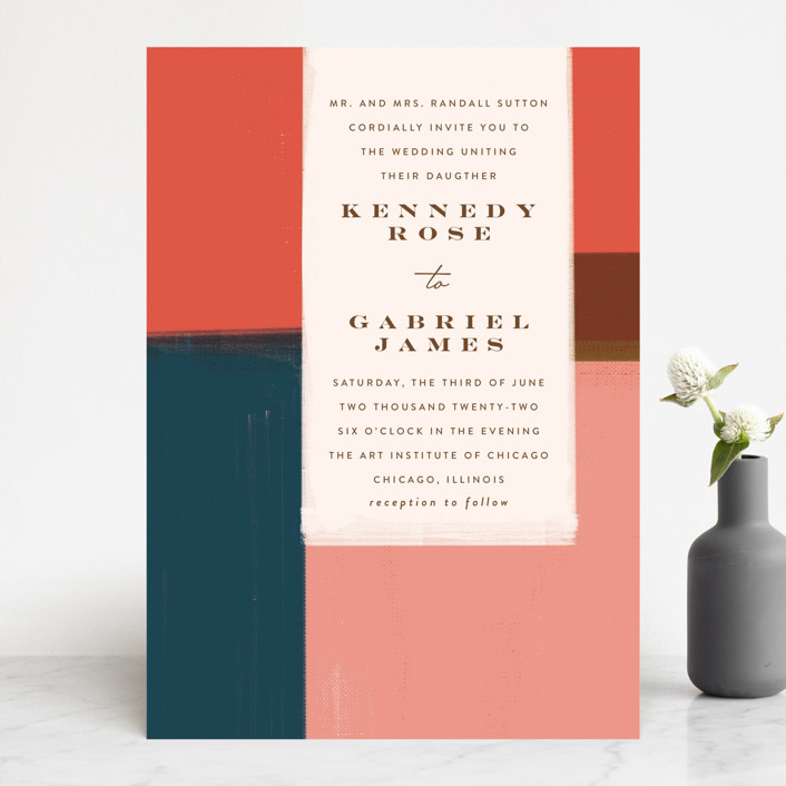 """painted colorblock"" - Modern Wedding Invitations in Poppy by Angela Marzuki."