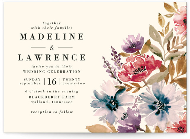 This is a landscape botanical, pink Wedding Invitations by Chris Griffith called Autumn Vows with Standard printing on Signature in Classic Flat Card format. A personally hand painted loose watercolor floral in warm fall colors perfect for an autumn or ...