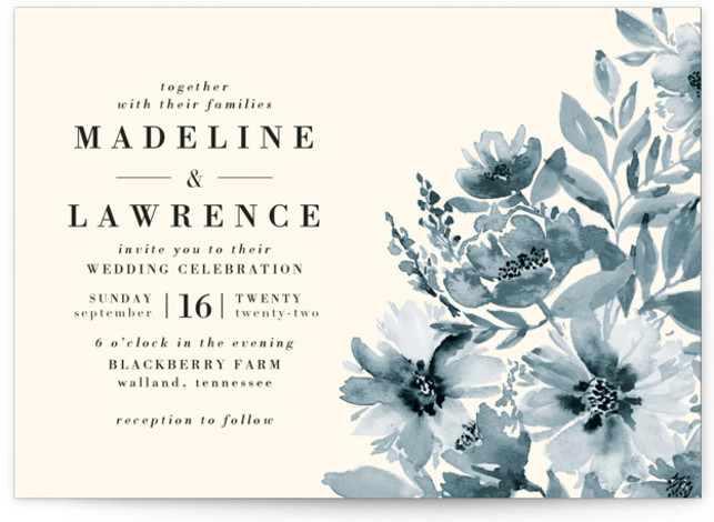 This is a landscape botanical, blue Wedding Invitations by Chris Griffith called Autumn Vows with Standard printing on Signature in Classic Flat Card format. A personally hand painted loose watercolor floral in warm fall colors perfect for an autumn or ...