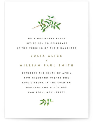 This is a portrait botanical, brown Wedding Invitations by Ariel Rutland called Leaf Arc with Standard printing on Signature in Classic Flat Card format. Elegant design with natural branch accents
