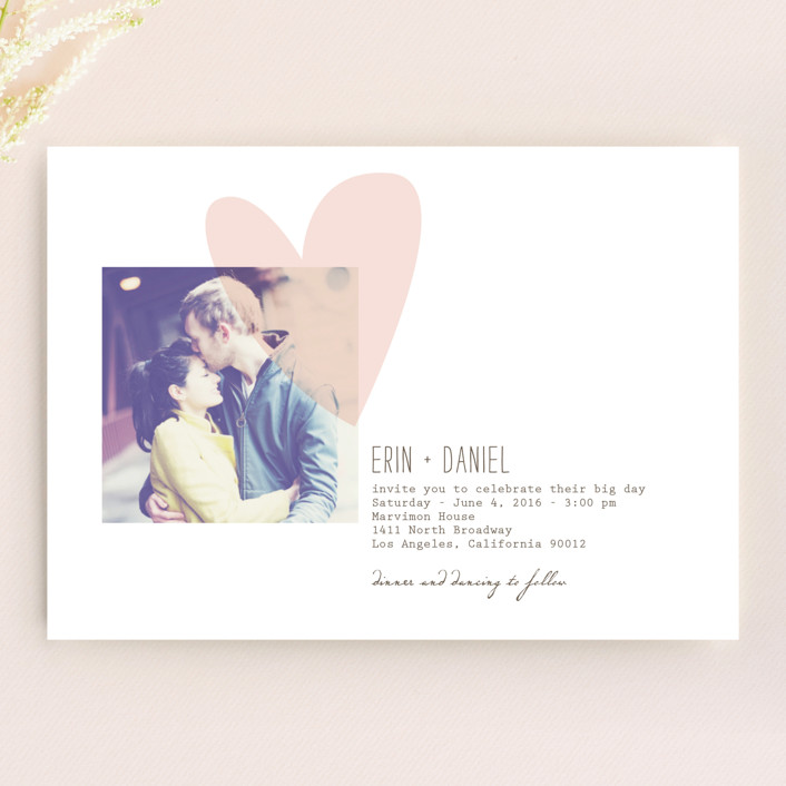 """Simply Love"" - Modern, Whimsical & Funny Wedding Invitations in Soft Pink by Aspacia Kusulas."