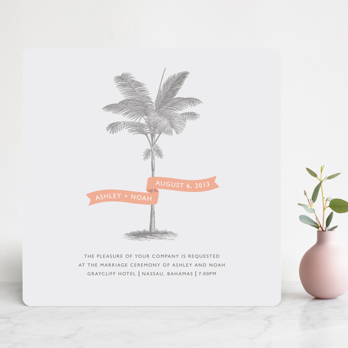 """Palm"" - Destination, Beach Wedding Invitations in Salmon by Lauren Chism."