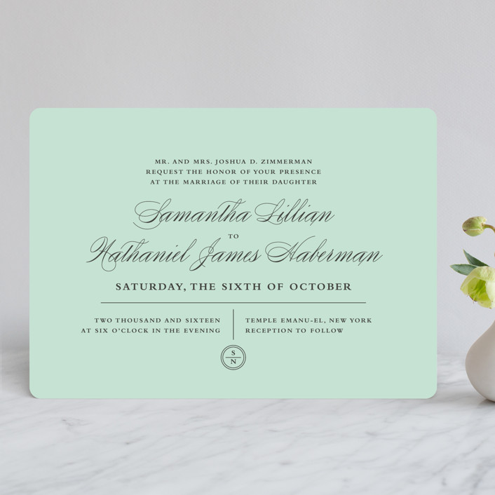 """Notable"" - Elegant, Formal Wedding Invitations in Robins Egg by Olivia Raufman."