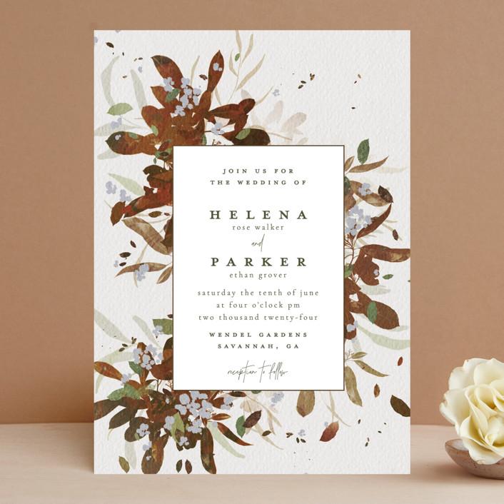 """Fall Flurry"" - Bohemian Wedding Invitations in Fall by Grace Kreinbrink."