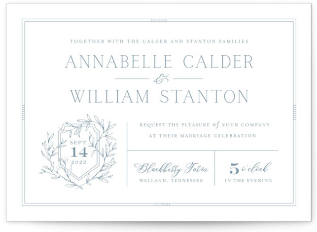 This is a blue wedding invitation by Oscar and Emma - Karly Depew called Love Beyond Measure with standard printing on signature in standard.
