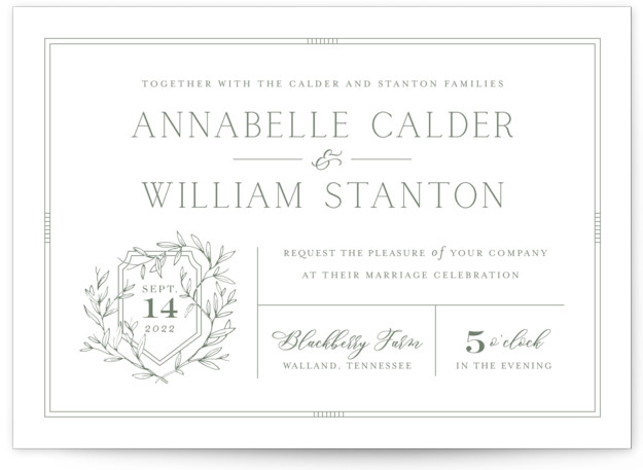 This is a landscape classic and formal, green Wedding Invitations by Oscar & Emma called Love Beyond Measure with Standard printing on Signature in Classic Flat Card format. Playful, yet sophisticated use of type accompanied by hand drawn graphics