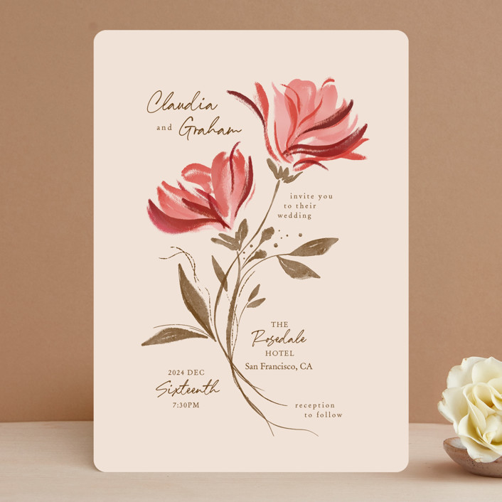 """""""Painterly Florals"""" - Wedding Invitations in Scarlet by Vivian Yiwing."""