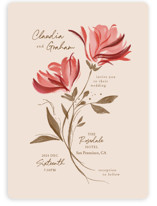 This is a red wedding invitation by Vivian Yiwing called Painterly Florals with standard printing on signature in standard.