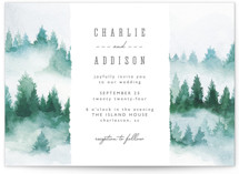 This is a green wedding invitation by Yuliya Evseeva called Forest air with standard printing on signature in standard.