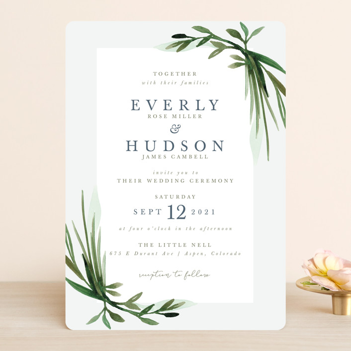 """Botanical Frame"" - Wedding Invitations in Fern by Kate Ahn."
