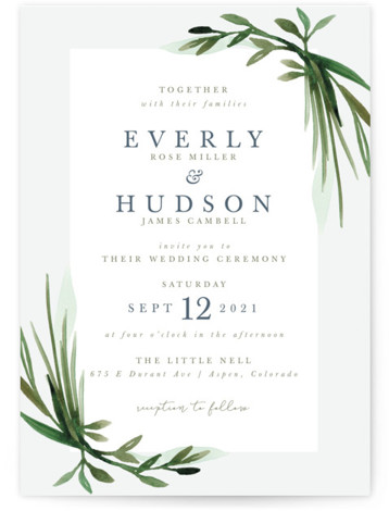 This is a portrait botanical, green Wedding Invitations by Kate Ahn called Botanical Frame with Standard printing on Signature in Classic Flat Card format. Hand painted, layered greenery frames classically beautiful type in this wedding invitation.